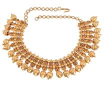 An Indian gold coloured necklace, the beaded necklet