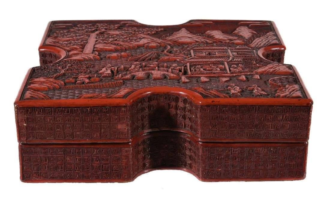 A Chinese cinnabar lacquer box and cover - 2