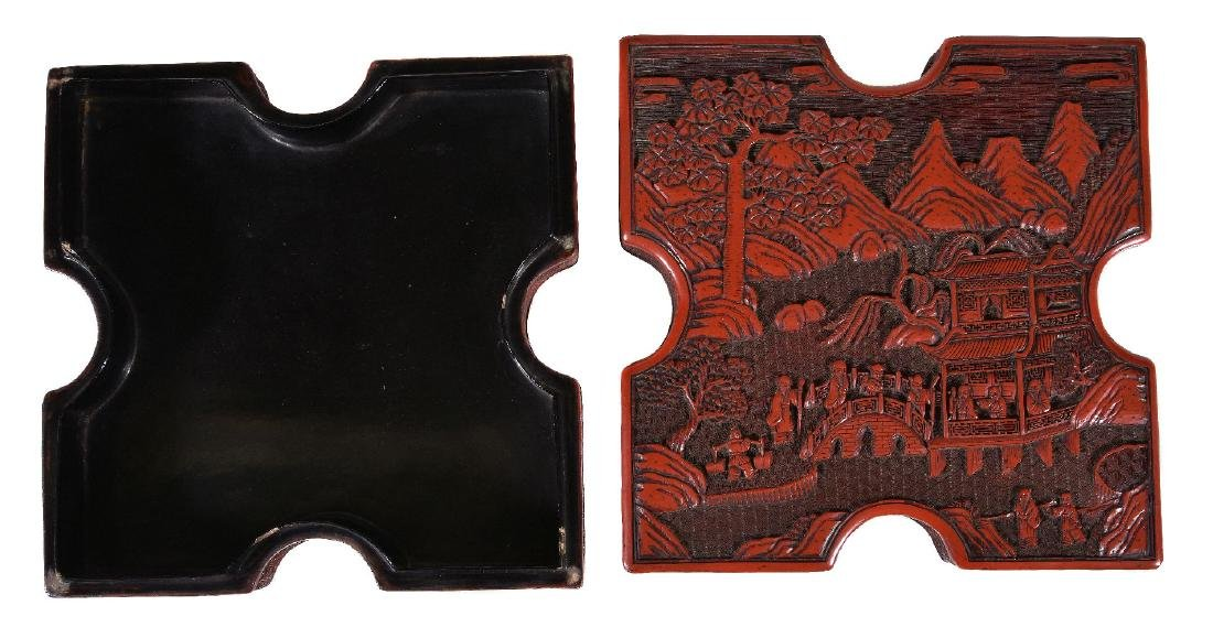 A Chinese cinnabar lacquer box and cover - 3