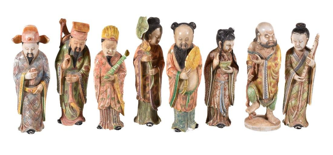 A set of eight Chinese soapstone figures of 'The Eight