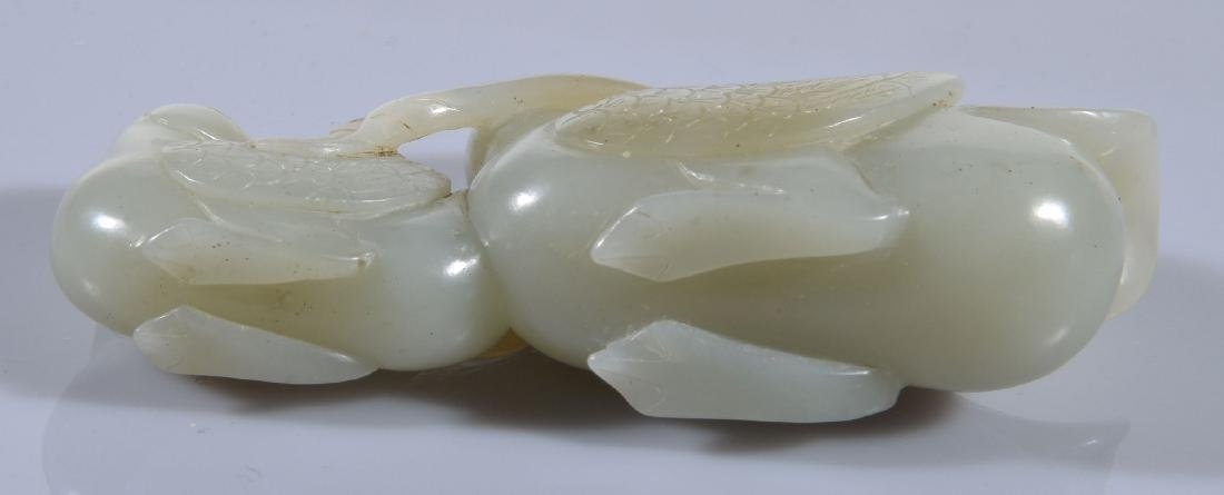 A Chinese celadon jade carving of two Mandarin ducks - 3