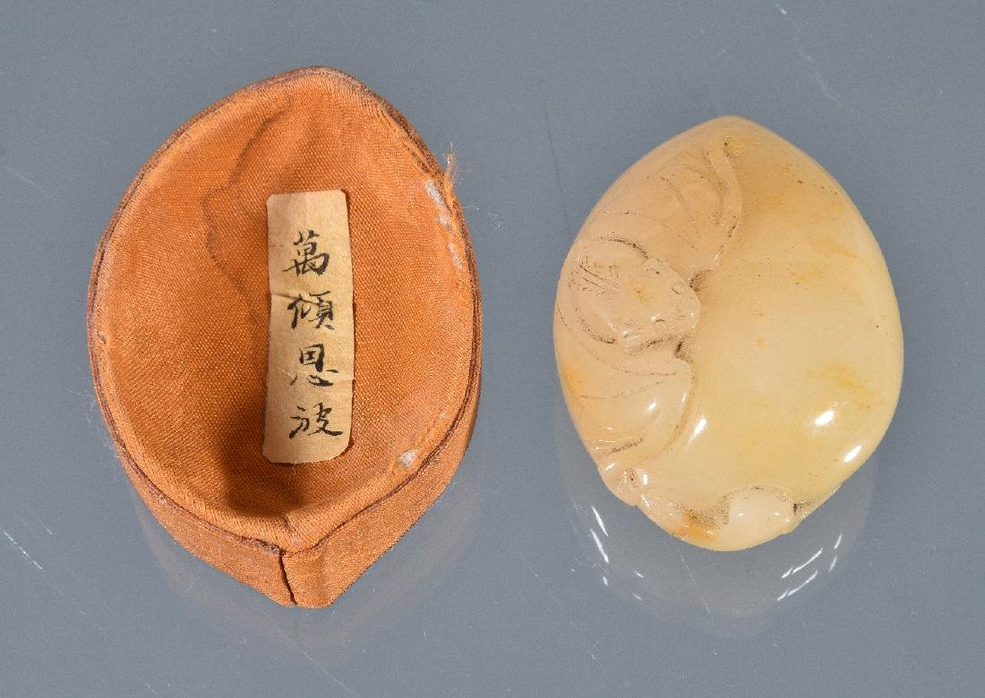 A Chinese white and brown jade 'melon and - 5