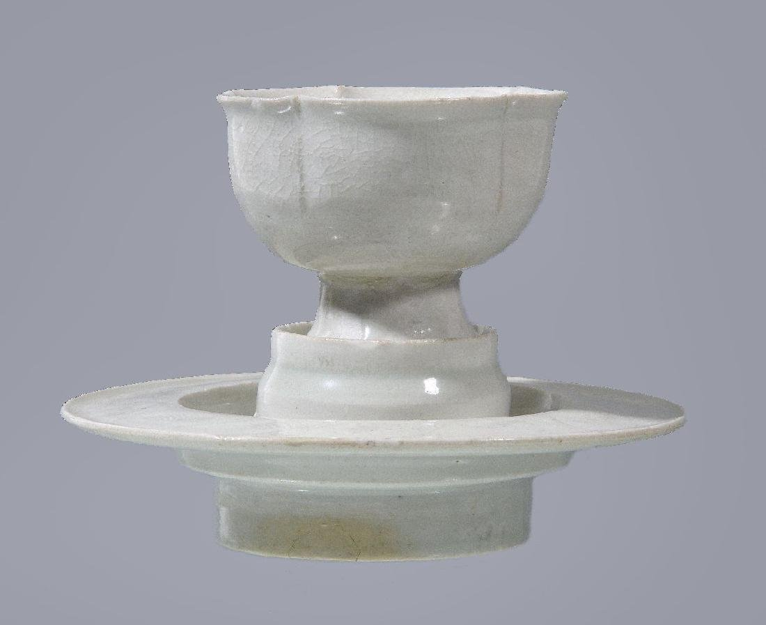 A Chinese Qingbai cup and stand - 2