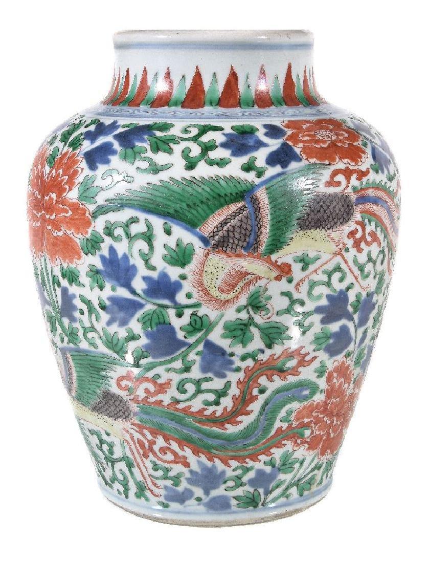 A Chinese Wucai baluster vase