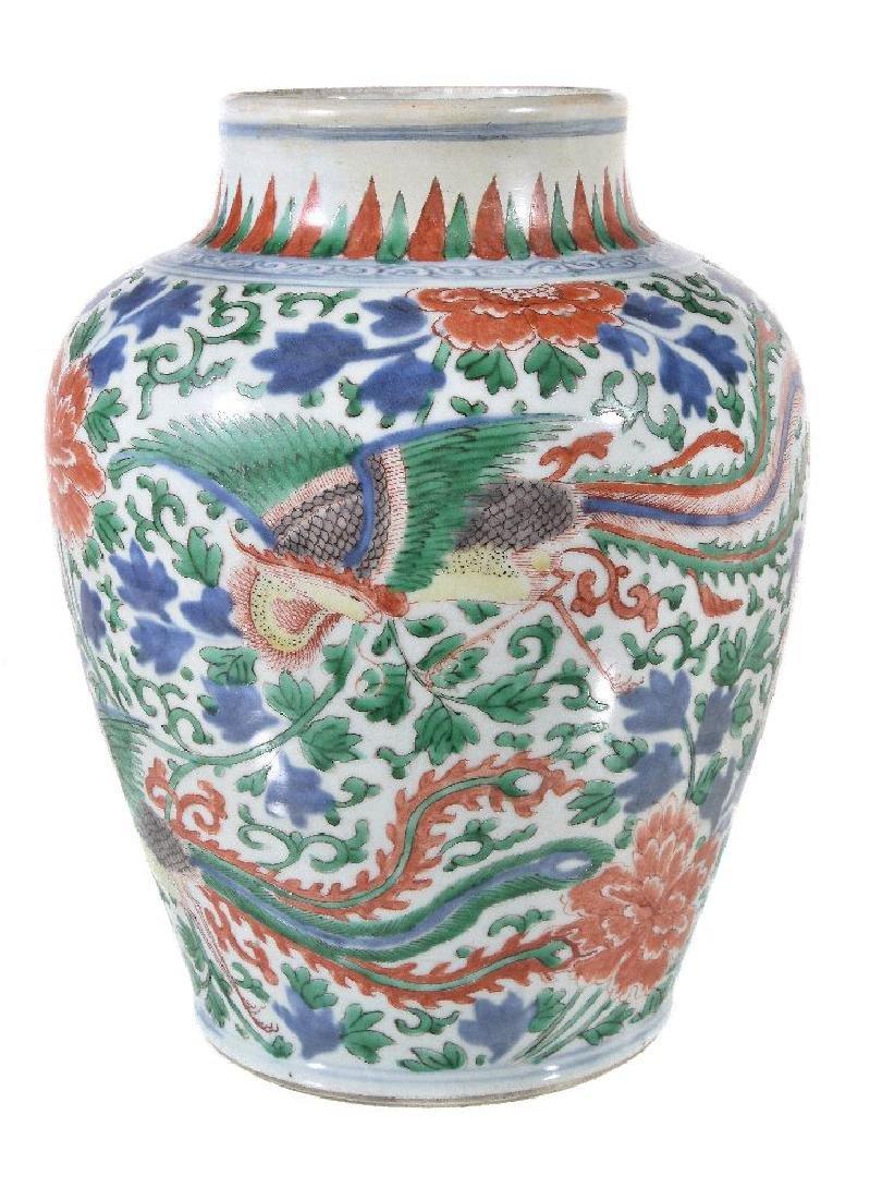 A Chinese Wucai baluster vase - 2