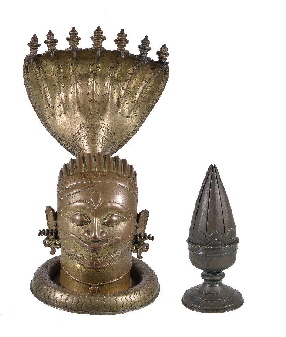 A brass lingam shrine, Western Deccan, India, circa