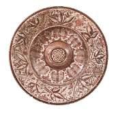A Hispano-Moresque tin glazed pottery copper lustre