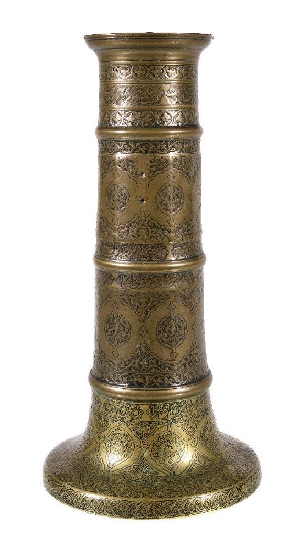 A Safavid brass candlestick - 2