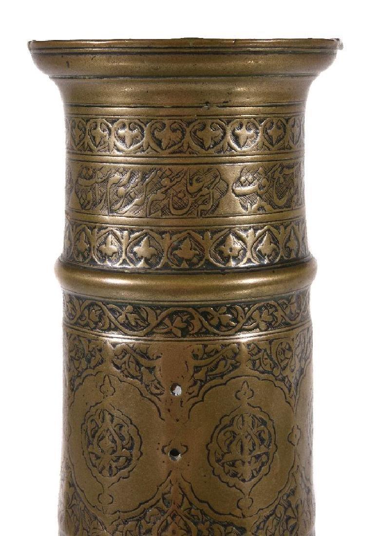 A Safavid brass candlestick - 4