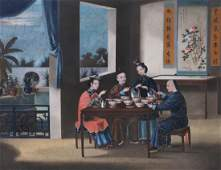 A Chinese export gouache painting