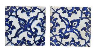 Two blue and white Dome of the Rock type tiles