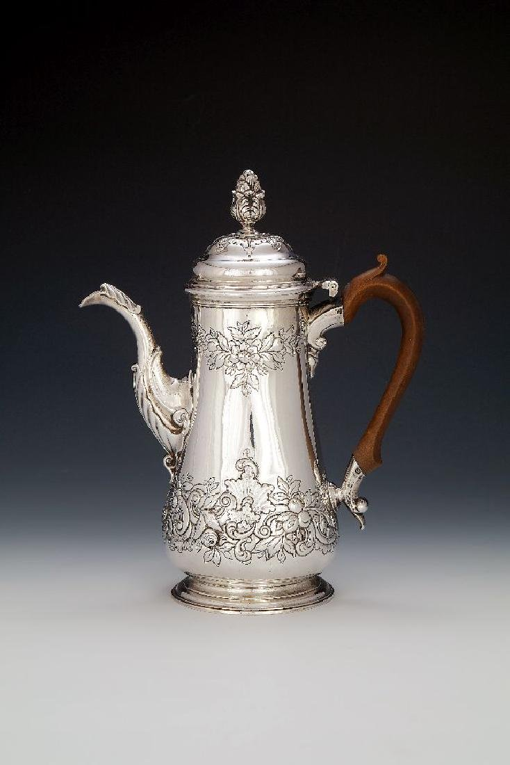 A George III Scottish silver baluster coffee pot by Ker