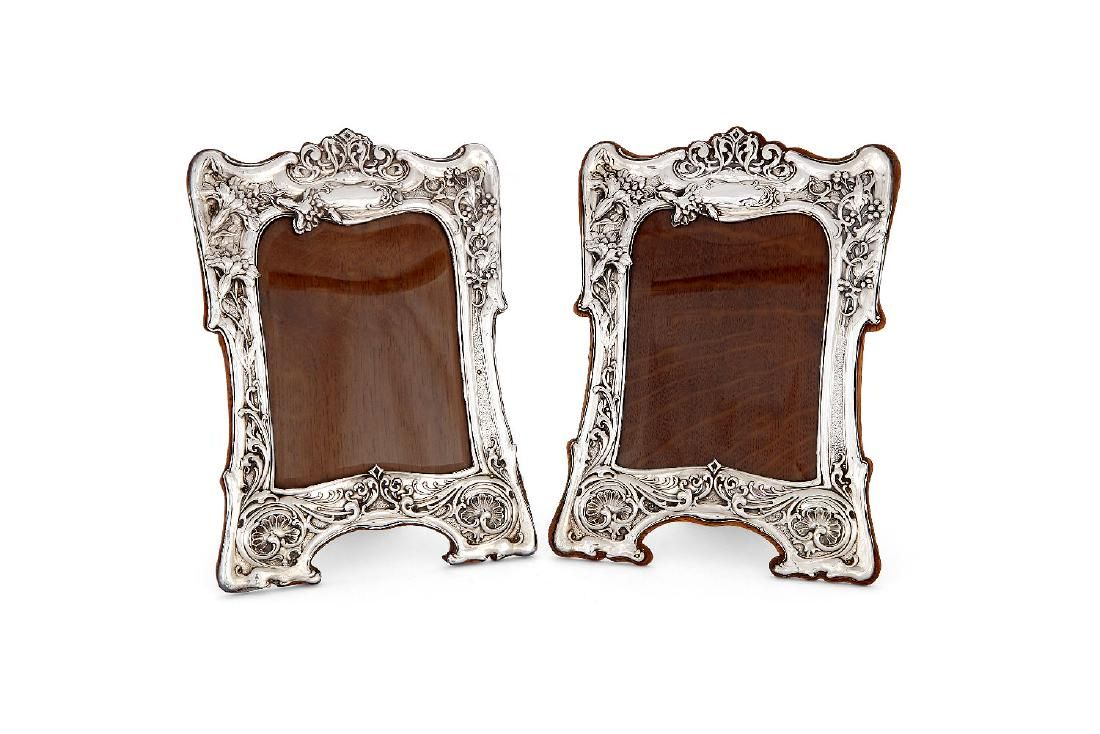 A matched pair of Art Nouveau silver photograph frames