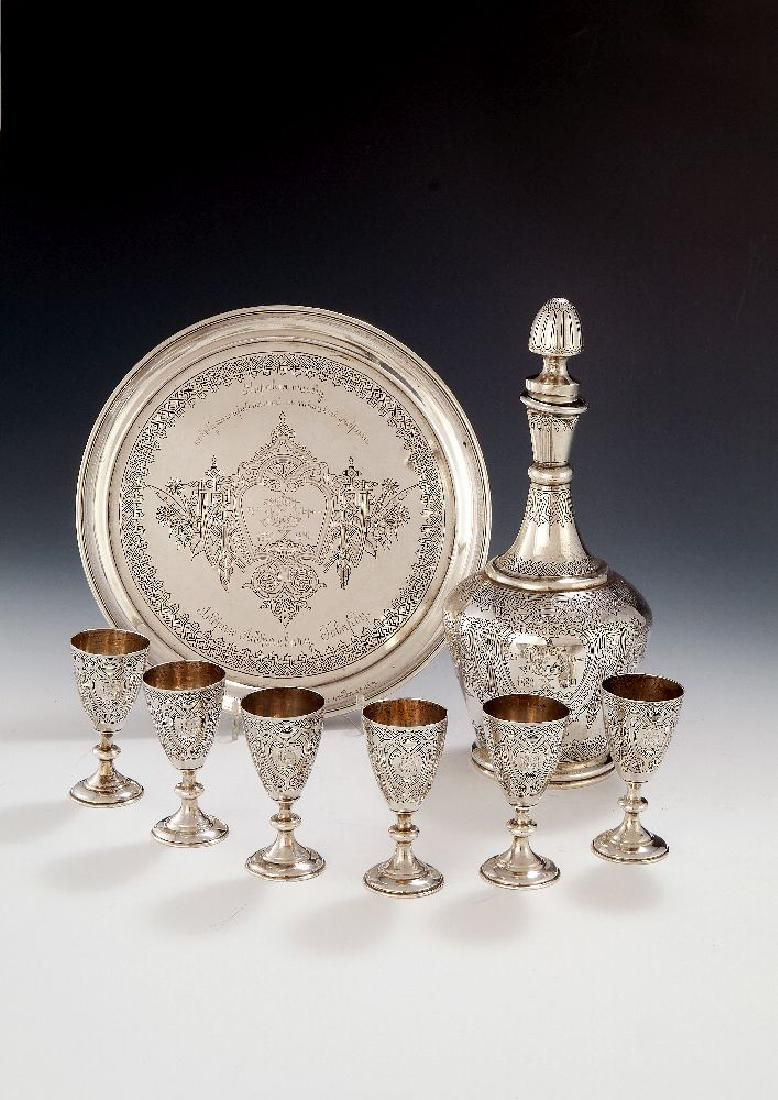 A Russian silver vodka set by Vasily Toknyev