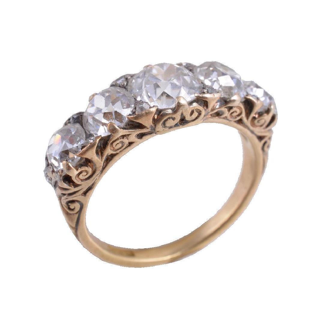 A late Victorian diamond five stone ring
