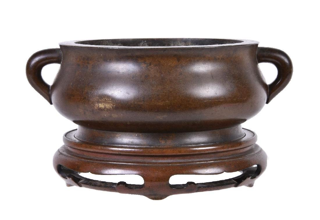 A Chinese bronze bombe censer and stand - 2