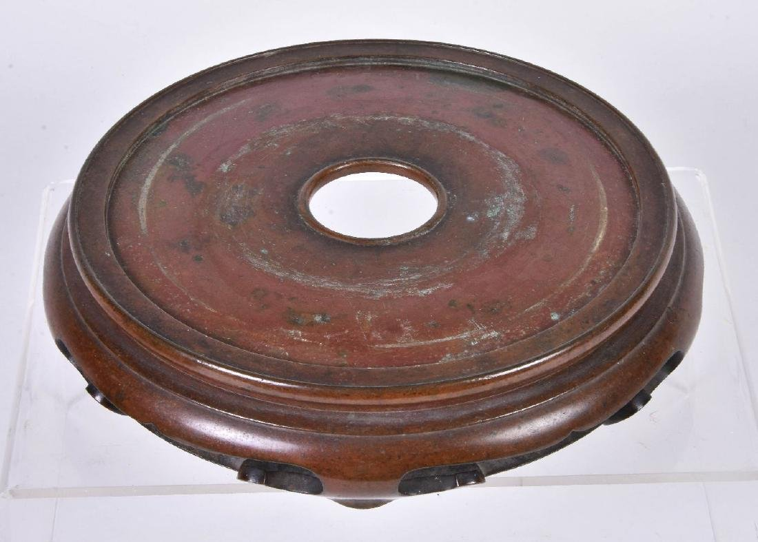 A Chinese bronze bombe censer and stand - 6
