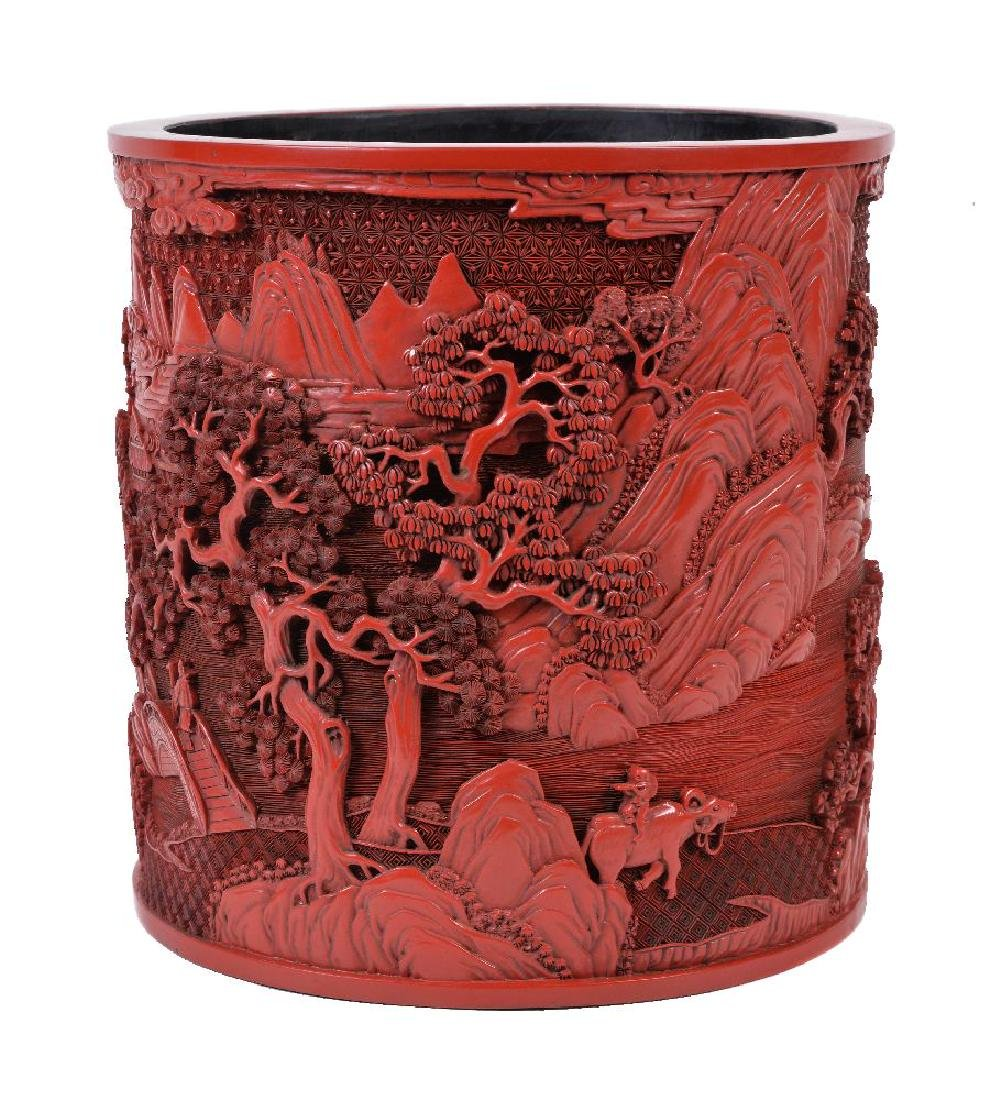 A large Chinese cinnabar lacquer brush pot