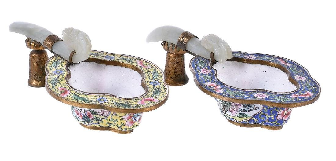 A pair of Chinese enamel jade and gilt-metal mounted