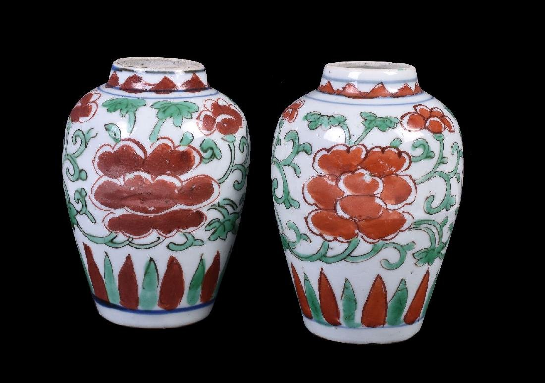 A small pair of Chinese Transitional 'Famille Verte'