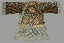 A Chinese embroidered chestnut silk Peking opera robe