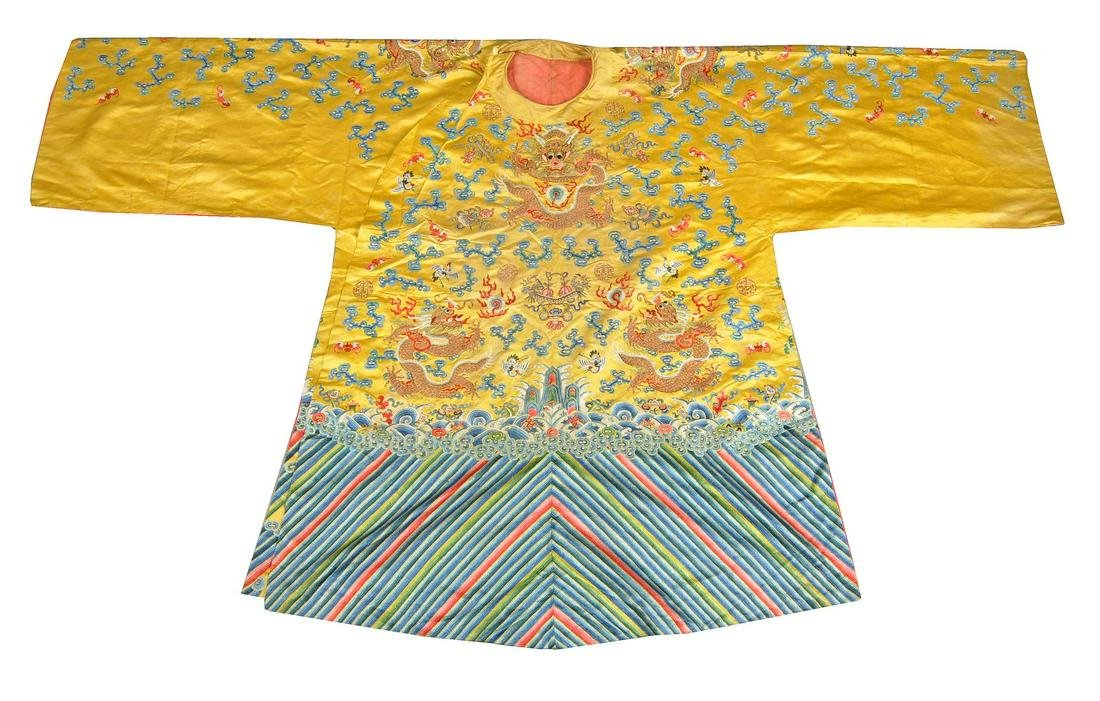 A rare Chinese yellow silk  'Imperial Court Opera'