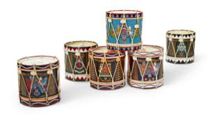 SIX REGIMENTAL DRUM ICE BUCKETS AND LIDS, LATE 20TH