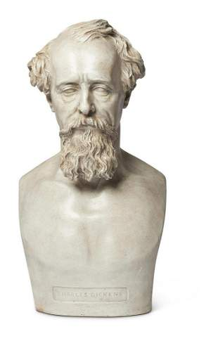 A PLASTER PORTRAIT BUST OF CHARLES DICKENS