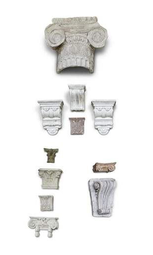 A COLLECTION OF ELEVEN ASSORTED PLASTER ARCHITECTURAL