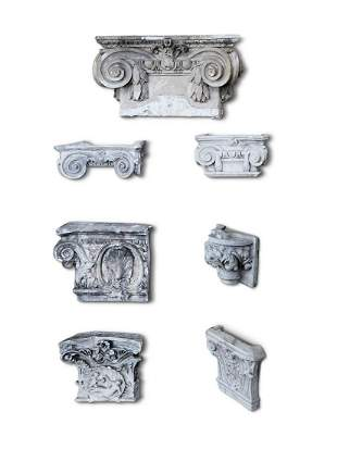 A COLLECTION OF SEVEN ASSORTED PLASTER ARCHITECTURAL