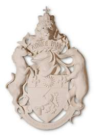 A PLASTER MOULDING OF THE AYNHOE PARK COAT OF ARMS,