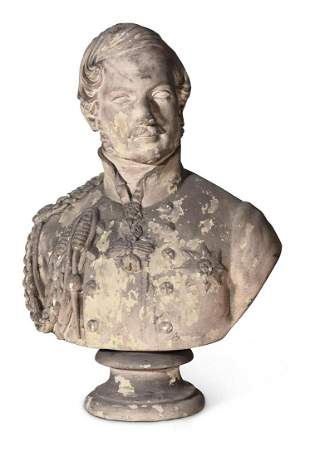 A VICTORIAN PLASTER BUST OF PRINCE ALBERT, LATE 19TH