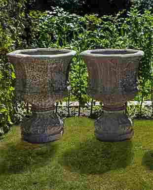 A pair of stone composition planters