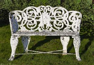 An English or French white painted cast iron garden