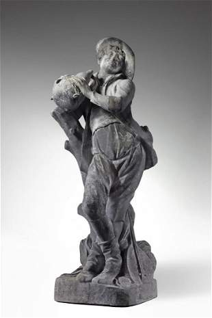 A lead garden figure of a musician in the manner of