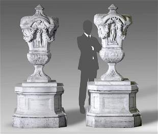 A pair of magnificent Italian sculpted white marble