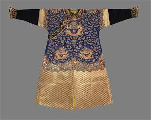 A fine Chinese Court Mandarin Gold work dragon robe