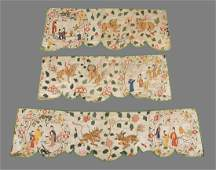 Three parts of Chinese export silk from a pelmet for a
