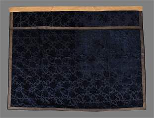 A Chinese Court woven cut velvet silk made into a table