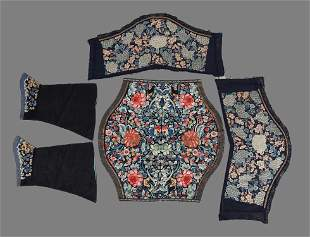 Three pairs of Chinese embroidered cuffs