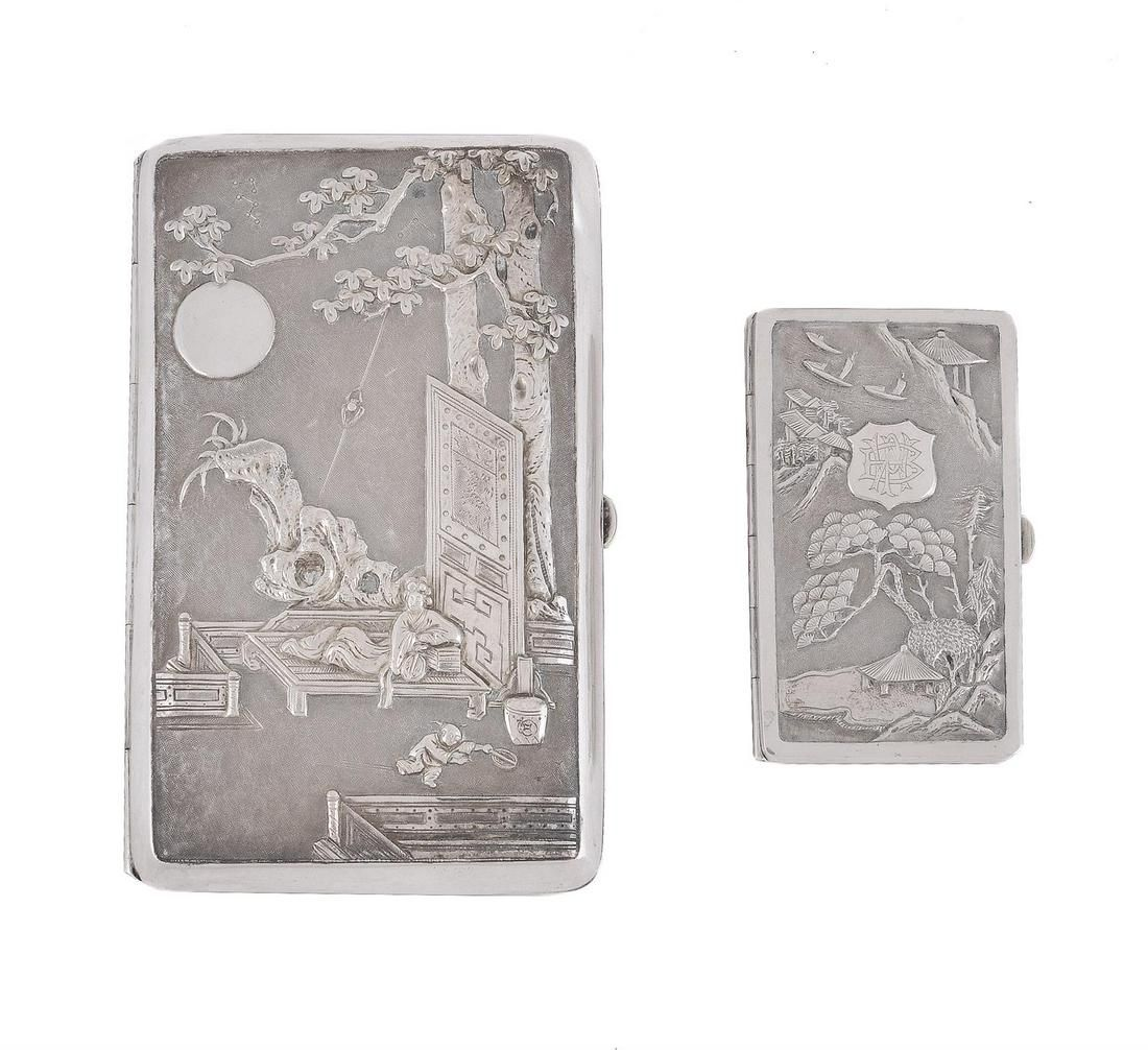 Two Chinese export silver card cases