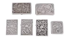 A group of Chinese export silver card cases