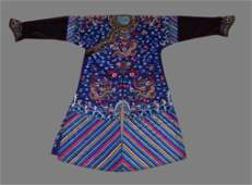 A boldly embroidered blue dragon robe
