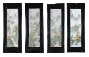 A set of four Chinese enamelled porcelain panels