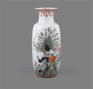 A large Famille Rose 'Peacock' vase
