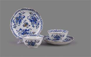 A pair of Chinese porcelain blue enamel decorated