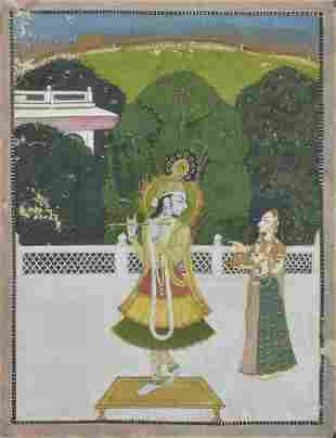 Krishna playing his flute on a terrace