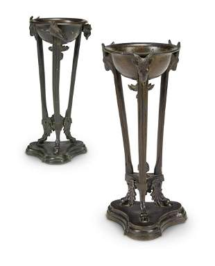 A PAIR OF PATINATED METAL ATHENIENNES, LATE 19TH/EARLY