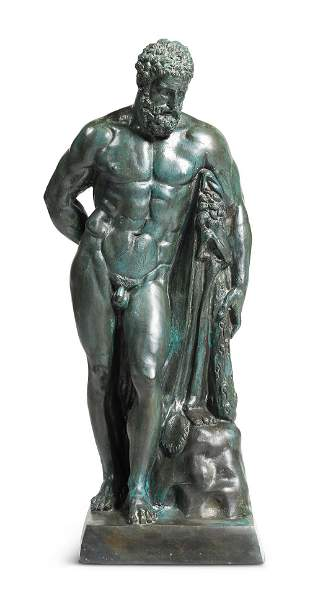 A PATINATED BRONZE MODEL OF THE FARNESE HERCULES, LAST