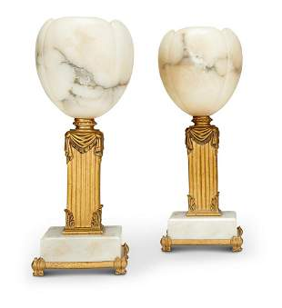 A PAIR OF ALABASTER AND GOLD PAINTED METAL TABLE LAMPS